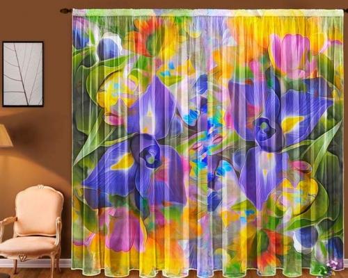 Комплект шторы и скатерть  Незабудки
