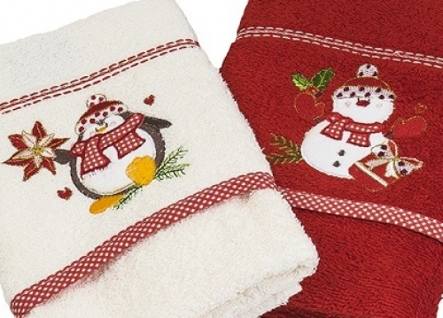 Новогодние полотенца махровые в коробке Вета-1