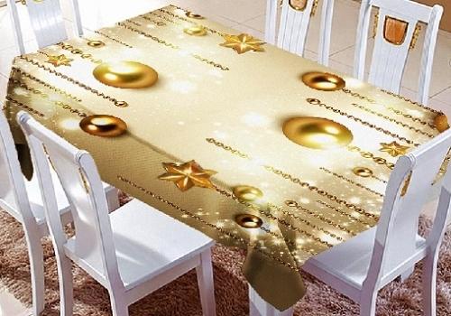 Комплект тюль и скатерть на кухню Золотые шары