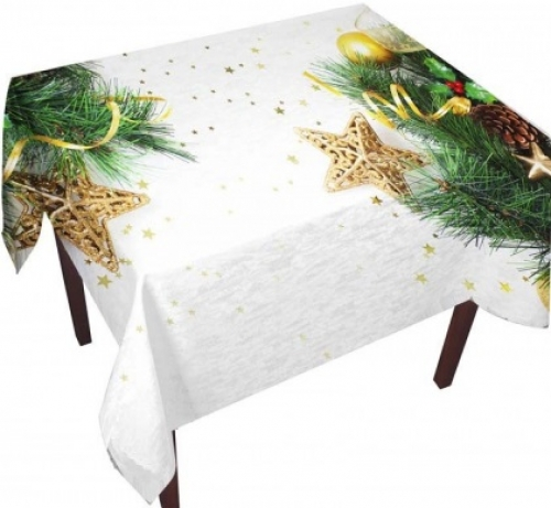 Комплект скатерть и тюль на кухню Звездочки