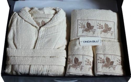 Махровый халат и полотенца набор Ференц