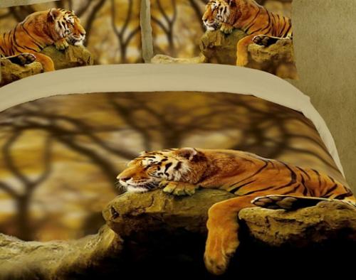 Постельное белье сатин Дикие кошки 3D 084