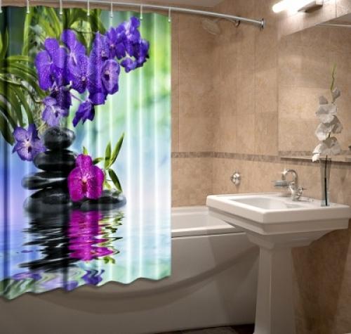 3д фотошторы для ванной Шарм