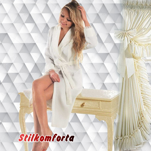 Вафельный женский халат Рени длинный