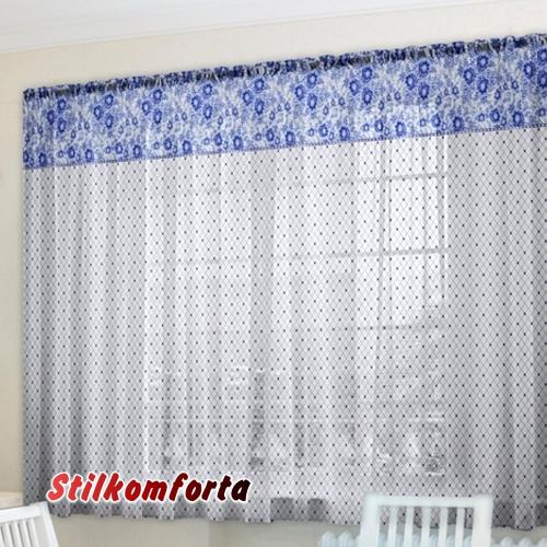 Комплект шторы и скатерть Голубой ноктюрн