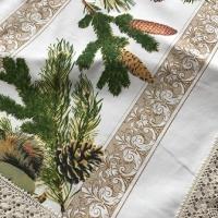 Дизайнерская новогодняя скатерть с пропиткой Зимняя сказка