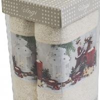 Новогодние полотенца в коробке Грес
