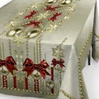 Набор новогодний тюль и скатерть на кухню Елочные игрушки