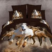 Постельное белье сатин 3D Бегущие лошади 097