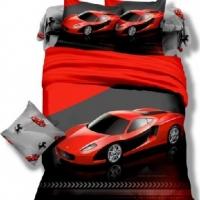Детское постельное белье сатин Красная машина