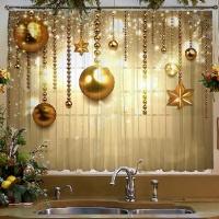 Комплект тюль/шторы и скатерть на кухню Золотые шары