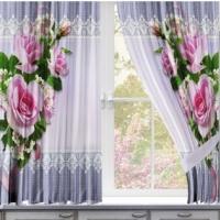Комплект шторы и скатерть Розы с кружевом