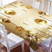Набор новогодний тюль/шторы и скатерть на кухню Золотые шары
