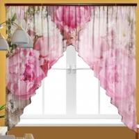 Короткая тюль на кухню Розовая палирта