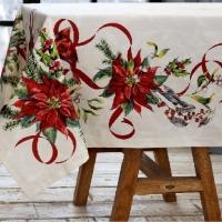 Дизайнерская скатерть на Рождество Пуансеттия – рождественская звезда