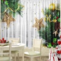 Набор новогодний тюль и скатерть на кухню Звездочки