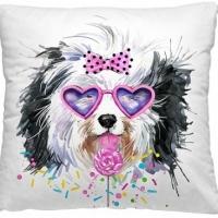 Декоративная диванная подушка Пес гламур