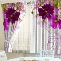 Комплект шторы и скатерть Вуаль из цветов