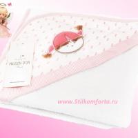 Полотенце уголок для новорожденных девочки розовое Беби