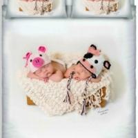 Дизайнерский комплект постельного белья Малыши вдвоем А 007n