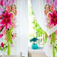 Комплект шторы и скатерть Цветочный водопад