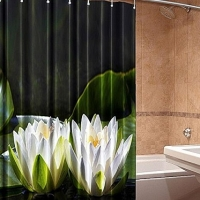 3д фотошторы для ванной Цветы лотоса