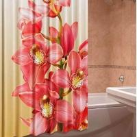 Шторы для ванны тканевые плотные на люверсах Розовая орхидея