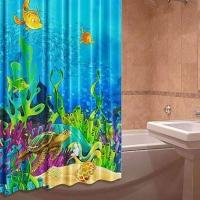 Шторка для ванны из ткани Подводный мир