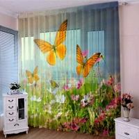 Тюль 3D / фототюль Луговые бабочки