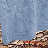 Элитный вязаный плед голубой хлопок Мара
