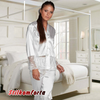 Женская пижама атлас шелк кружево Висконти