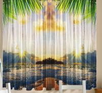 Комплект шторы и скатерть Таити