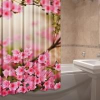 Штора для ванной тканевая Розовый бриз