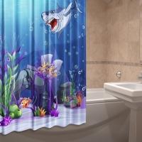 Шторка для ванной тканевая Морские обитатели