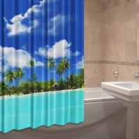 Штора для ванны тканевая плотная на люверсах Гаваи