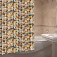 Шторка для ванны из ткани Раковины