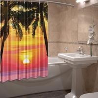 Шторка для ванны из ткани на люверсах Вечер