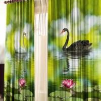 Фотошторы с печатью 3d изображений Лебединая пара