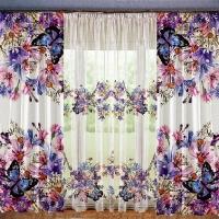 Комплект шторы и тюль Луговые цветы