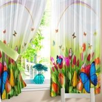 Короткие шторы из тюля на кухню Итоми