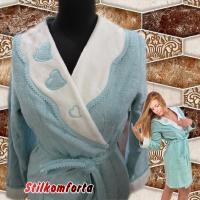 Бамбуковый халат махровый с аппликацией Мони сердечки