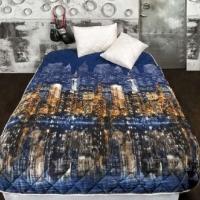 Одеяло покрывало и подушки бамбук комплект Ночной город