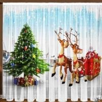 Новогодние шторы и тюль  Оленята
