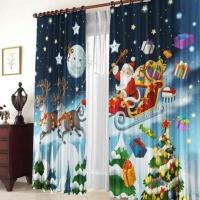 Новогодние шторы и тюль Санта