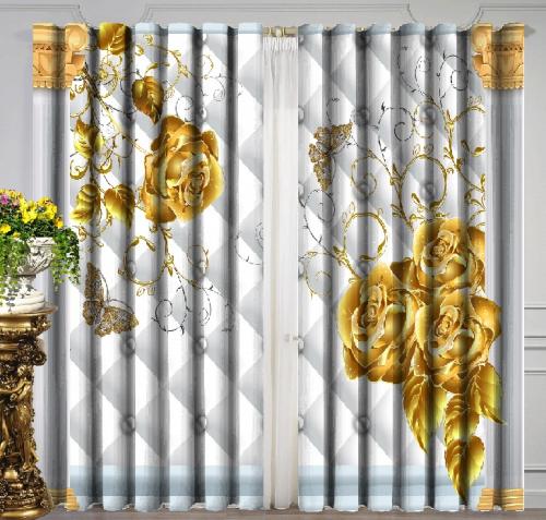 Комплект фотоштор Золотые розы и бабочки