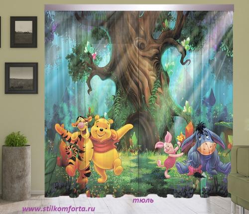 Шторы и тюль в детскую комнату Винни и друзья