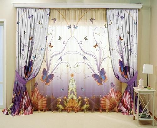 Комплект шторы и тюль в комнату девочки Полет бабочки