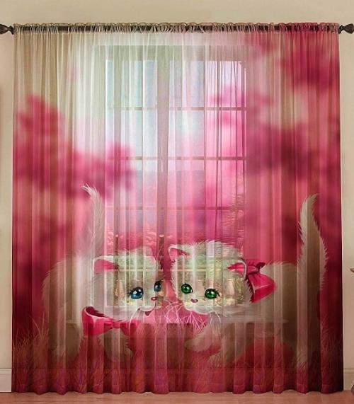 Комплект шторы и тюль Котятки