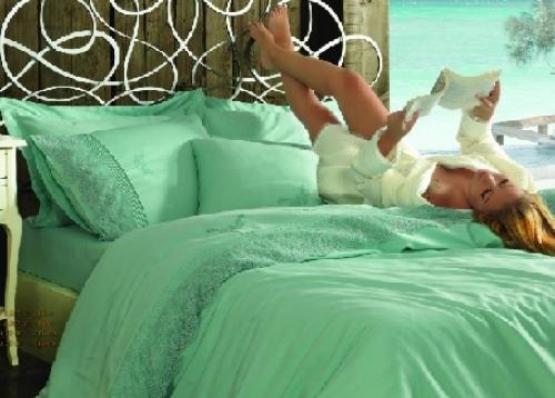 Элитное постельное белье с кружевом Хелен бирюза