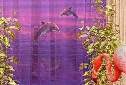 Шторы и тюль в комнату девочки Фламинго